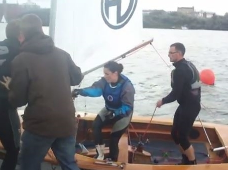 Downwind kite up changeover by WLYC GP14 team 24hr Race::A Happy Team Sinclair