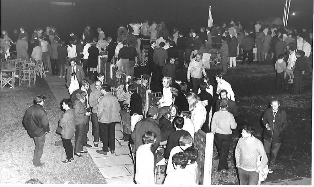 The West Lancs 24 Hour Race pits at night in 1969