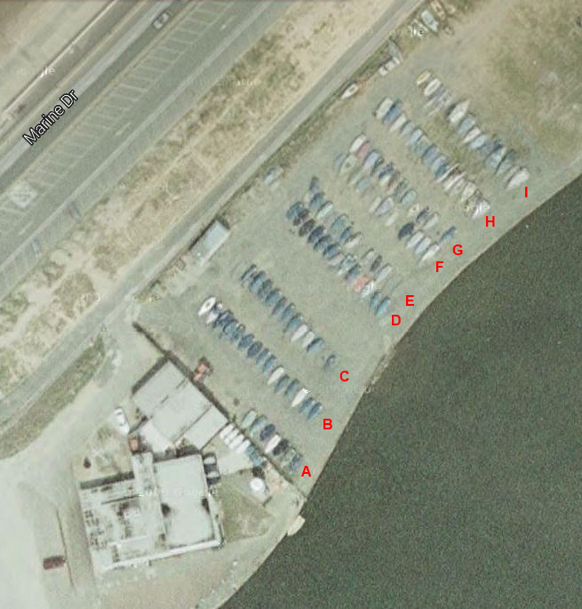 Aerial View of the Dinghy Park::Letters in Red show berth allocation rows